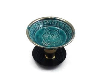 Aromatherapy Essential Oil Diffuser Wolf  Raku Ceramic Pottery