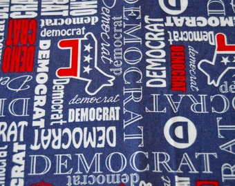 Democrat Fabric - 100% Cotton - 3/4 yard x 43 inches