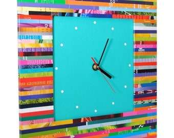LARGE square wall clock - made from recycled magazines, unique, color blocking, square, unique, kitchen clock, artistic, bright