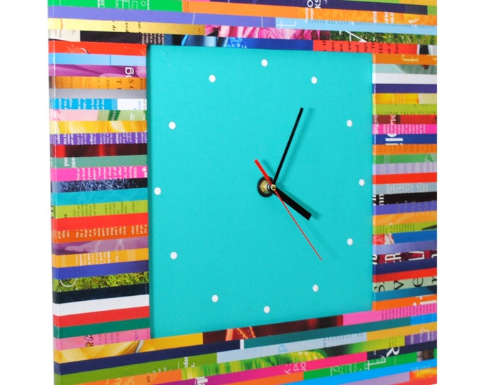 Featured listing image: LARGE square wall clock - made from recycled magazines, unique, color blocking, square, unique, kitchen clock, artistic, bright