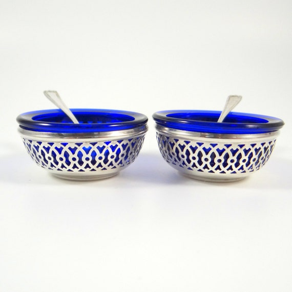 Sterling Silver Salt Cellars With Cobalt Blue Liners And