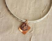 Om Bracelet silver bangle copper OM symbol charm stacking layering Yoga jewelry Buddhist meditation