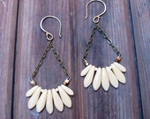 SALE - F E A T H E R L I GH T - Glass Dagger Bead Earrings - Artisan Tangleweeds Jewelry