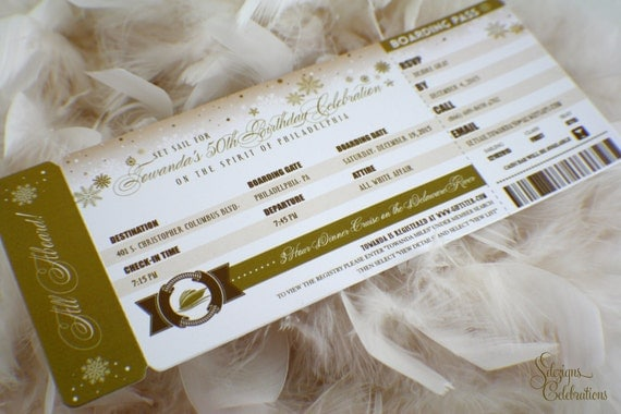 Cruise Wedding Invitation Wording Examples: Boarding Pass Invitations 50th Birthday Cruise Winter