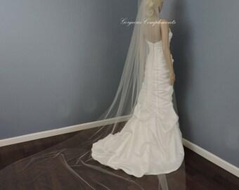 Wedding Veil Single Tier Cathedral Cut Edge Standard Fullness, Bridal Veil STX70CE
