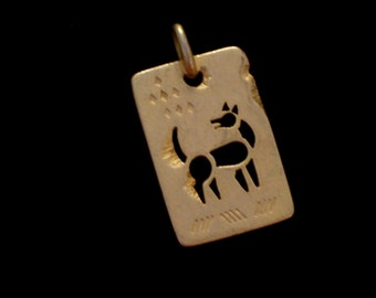 Vintage JJ Egyptian Hieroglyph Style Pendant, Gold Plated Dog Jewelry, JJ Pendant, JJ Jewelry