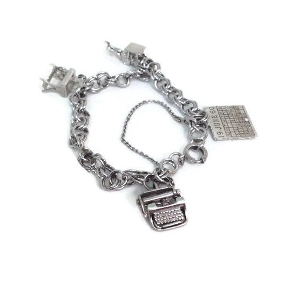 Vintage Charm Bracelet - Sterling Silver - Typewriter - Sewing Machine - Stage Coach - Calendar