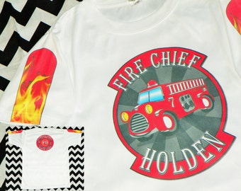 Fire Engine Birthday Shirt. Fire Engine Shirt. Fire Chief Party Shirt. Fire Fighter Birthday Party. Personalized Fire Tee. Fire Department