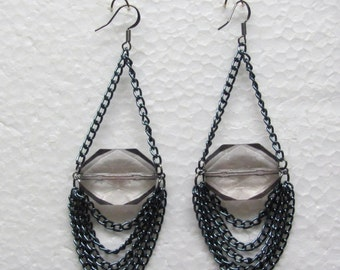 Blue Chain Earrings With Large Faceted Beads.  Gun Metal Ear Wires. Unique