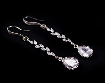 Bridal Earrings Long Rhinestone Teardrop Wedding Earrings Taryn