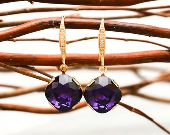 Bridesmaid Jewelry Deep Purple Crystal Earrings in Gold