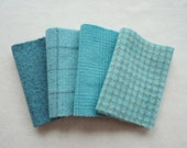 Turquoise - Hand Dyed Felted Wool Fabrics Perfect for Rug Hooking and Applique 7000