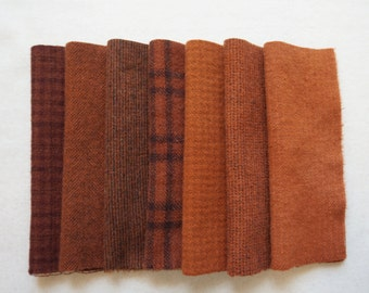 Rust - Pumpkin Brown-Orange - Hand Dyed Felted Wool in a Beautiful Collection a Perfect Rug Hooking and Applique Wool