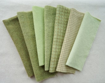 Spring Green - Green - Hand Dyed and Felted Wool Fabric