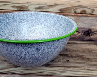 Country / Farmhouse / Cottage Chic Gray and Green Enamelware Bowl