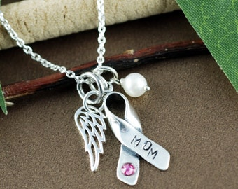 Breast Cancer Awareness Necklace,  Cancer Ribbon Necklace, Silver Angel Wing Necklace, Inspirational Jewelry, Breast Cancer Gift