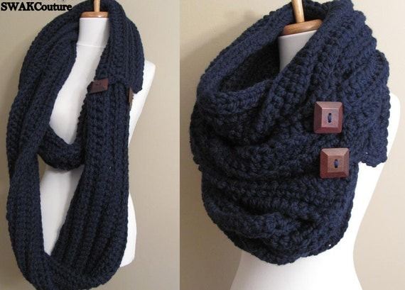 Eternity Scarf Oversized Wool Scarf Convertible Tundra Wrap Long Unisex Infinity Scarf Wood Button Scarf Navy or CHOOSE Color Pinterest Fav