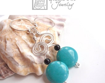 Turquoise & Silver Earrings with Onyx, Wire Wrapped
