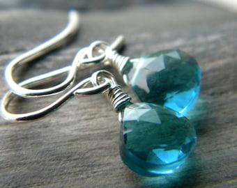 Sky blue quartz bright sterling silver earrings - wire wrapped handmade gemstone jewelry