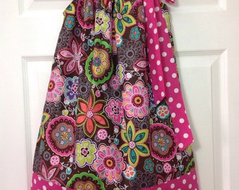 READY TO SHIP - Retro Flowers Pillowcase Dress Size 6
