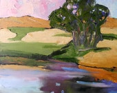 Impressionist Plein Air Oil Painting CALIFORNIA Eucalyptus Country Pond Landscape Art 16x20 Lynne French