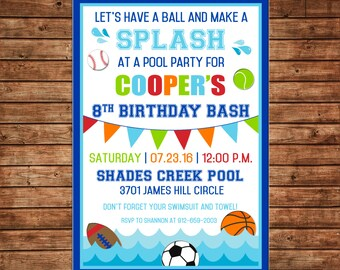Boy Sports Sport Baseball Football Basketball Soccer Pool Swimming Invitation Birthday Party Invitation - DIGITAL FILE