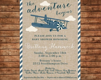 Boy Burlap Airplane Vintage Antique Plane Invitation Baby Shower Birthday Party Invitation - DIGITAL FILE