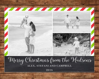 Photo Picture Christmas Holiday Card Chalkboard Chalk Red Green Stripe 3 photos - Digital File