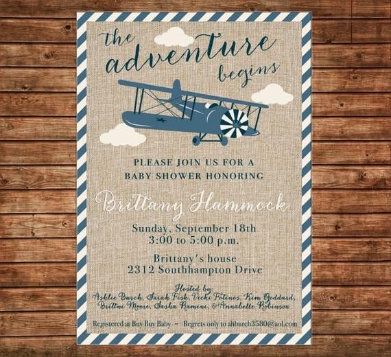 Boy Burlap Airplane Vintage Antique Plane Invitation Baby Shower Birthday Party Invitation - DIGITAL FILE