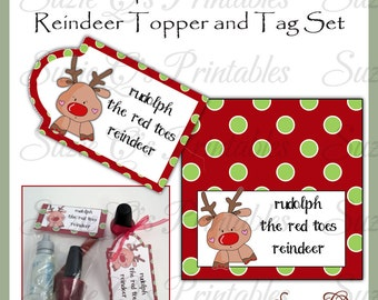 Rudolph the Red Toes Reindeer topper and tag set - Digital Printable - Immediate Download