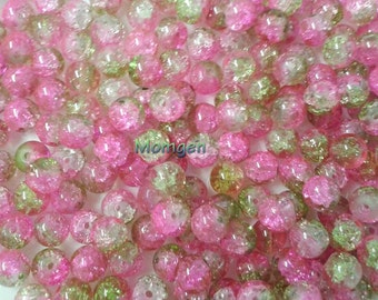 8mm pink green crackle Glass Beads, green Beads, pink Beads, 8mm crackle beads, crackle glass  beads  - 20pcs