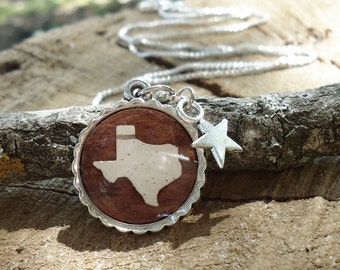 Texas Necklace - Texas Wedding Bridesmaid Jewelry - Barn Wedding Bridesmaids Gift - Rustic Wood Birch Bark Texas Jewelry - Bridesmaids Gift