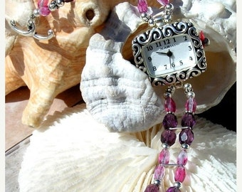 ON SALE 50% OFF Silver Watch, Plum with Pink Glass Beads Jewelry      Sold as is 6.5 inches