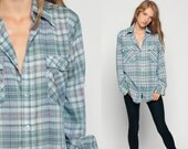 Plaid Shirt LEVIS Shirt 70s Cotton Oversized Blue Green 1970s Levi Button Down up Flannel Vintage Hipster Checkered Long Sleeve Medium