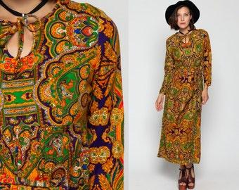Psychedelic Maxi Dress 70s Hippie Boho KEYHOLE 60s Mod PAISLEY Print 1970s Vintage Bohemian Long Sleeve Empire Waist Green Orange Medium