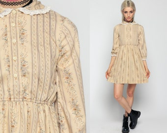 Peter Pan Dress Boho Mini 70s Cream LACE COLLAR Bohemian Floral Button Up High Waisted 1970s Cream Vintage Striped 3/4 Sleeve Extra Small Xs