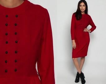 Red WOOL Dress 60s MOD Wiggle Pencil Mini Sheath High Waisted Day 70s Long Sleeve Secretary Button Up Vintage Mad Men Plain Medium