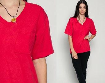 V Neck Tshirt Vintage Red Shirt Tee Plain Shirt 90s T Shirt Grunge Chest POCKET Plain 1990s Distressed Basic Small