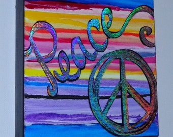 Peace Abstract Handpainted Original Multicolored Acrylic Painting on Wood Frame 5.5 inch Beautiful Colors Heather Montgomery Art