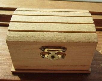 Dollhouse Decor-Unpainted Wooden Trunk Brass Lock. #132