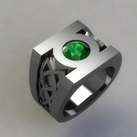 sterling silver green lantern ring created by