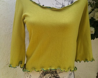 Pretty Lime Green Top Sweater Layering Restructured Recycled Upcycled Small/Medium