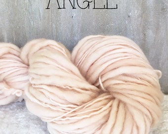 Slub Yarn, Thick and Thin Yarn, Hand Dyed Merino Yarn, Hand dyed Slub Yarn, Hand painted slub yarn, baby prop yarn, Angel