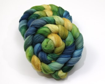 Merino Wool/ Superwash Merino/ Silk Roving - Hand Painted Roving for Spinning