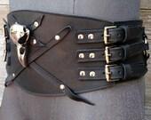 Primitive Tribal Black Leather Wide Belt w Raven Skull and Nickel Hardware