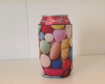 Colorful pills beer can cooler