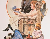 PLanning The Home/First Of The Month, Norman Rockwell Magazine Cover Prints, 2-Sided Vintage Book Page, Unframed Color Plate, 1979