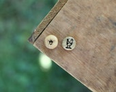 Reserved Listing- Wood Buttons _ Bee & Chicken- Knitting, Sewing, Craft Buttons