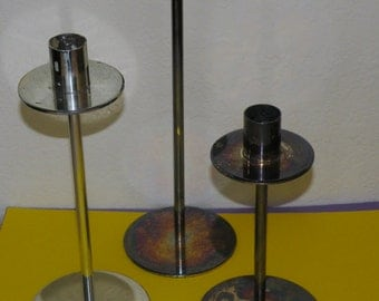 3 Mid Century Metal Candle Holders