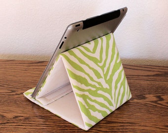 iPad Stand, Tablet Stand, Gadget Support, Padded Stand, Green Zebra Print Cotton Fabric. Tech Support Triangle
